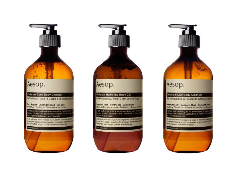 Aesop: Coriander Body Cleanser, Body Petitgrain Hydrating, Geranium Body Cleanser