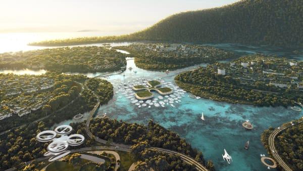 """Ein Rendering zeigt eine der drei Inseln, die BIG zu bauen plant- Die einzelnen """"Blütenblätter"""" haben eine Größe von 0,2 bis 2 Quadratkilometer und sollen jeweils etwa 15000 Menschen in gemischt genutzten Bezirken beherbergen."""