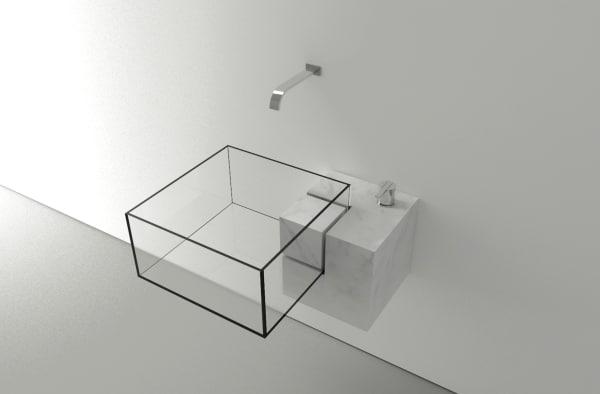 """Vorerst (noch) ein Prototyp: Waschtisch """"Kub"""" aus Carrara-Marmor von Victor Vasilev punktet mit minimalistischer Geradlinigkeit. Der Siphon versteckt sich im Marmorblock."""