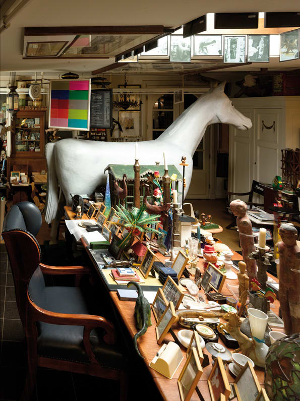 The large studio of the Hamburg home of Hanne Darboven.