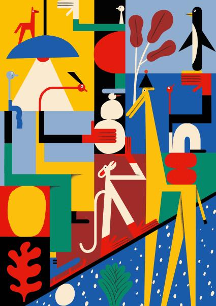 Eine junge Tradition: Jedes Jahr bringt das Bikini Berlin ein eigens designtes Geschenkpapier heraus. Dieses Mal: eine fröhliche, hippe Winterlandschaft vom Illustratoren- und Kunstduo ZEBU. Erhältlich in der Geschenkepackstation vomBikini Berlin.