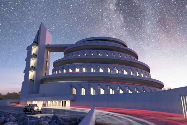 """Da das """"Gordon Strong Automobile Objective"""" unter anderem als Planetarium genutzt worden wäre, simuliert Architekt David Romero das Werk Frank Lloyd Wrights im Nachthimmel und unter Sternen."""
