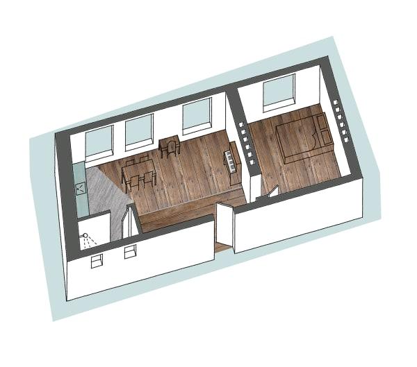 Um das Appartement großzügiger wirken zu lassen, schuf Olivia Clergue aus dem einstigen Wohnzimmer mit Flur und Küche einen offenen Raum. Das Bad blieb in seinen ohnehin knappen Dimensionen erhalten.