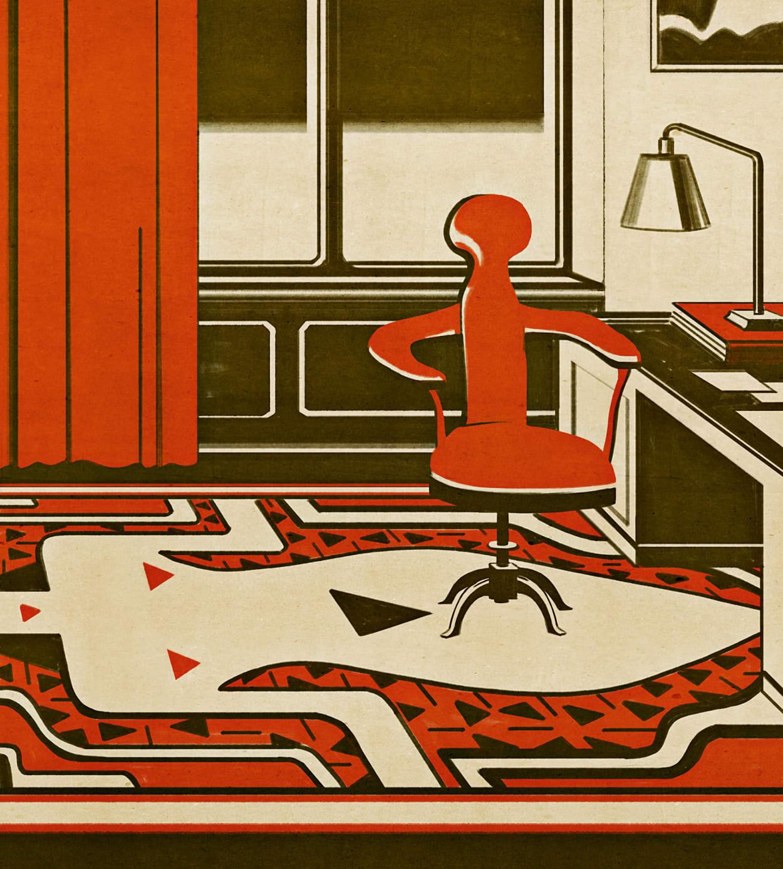 Illustration, Freud, Arbeitszimmer, Schreibtisch