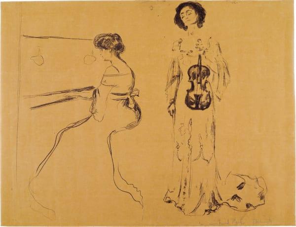 """Edvard Munch (1863 – 1944) """"Violinkonzert"""", 1903, Lithographie auf Verlin, erster Zustand mit eigenhändiger Widmung des Künstlers, Nachverkaufspreis: 11000 Euro, (Auktion 490: Kunst des 19. Jahrhunderts), Ketterer, München, Kettererkunst.de."""