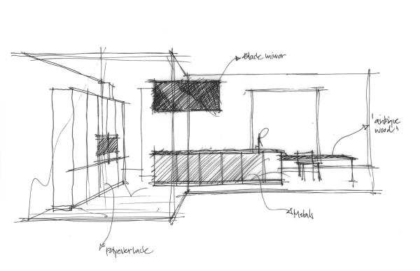 Egal ob persönlich oder virtuell beraten wird: Michael Albert von Boffi Berlin skizziert seine Konzepte charmant von Hand