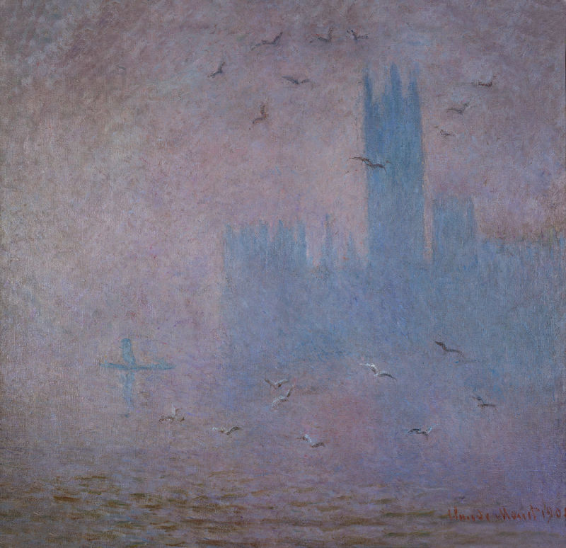 Möwen. Das Parlamentsgebäude in London, Monet