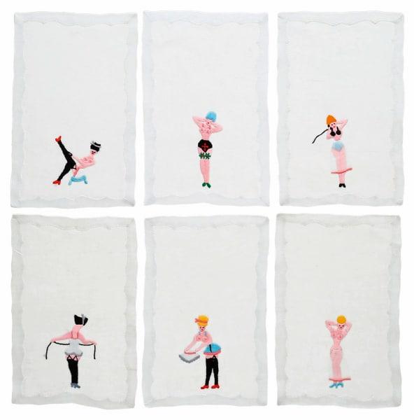 """Cocktailservietten """"Pin-up Girls"""" von Resbelle aus Leinen, sechs        Stück, 216 Euro."""
