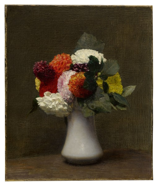 """Henri Fantin-Latour (1836 – 1904), """"Dahlien"""", 1872, Signiert und datiert,Öl auf Leinwand, 44,5 x 37,2 cm, Los 364 der Auktion: """"Impressionist & Surrealist & Modern Art Day Sale"""", Sotheby's London, 5. Februar 2020, Schätzpreis: 80000 – 120000 GBP, Sothebys.com."""
