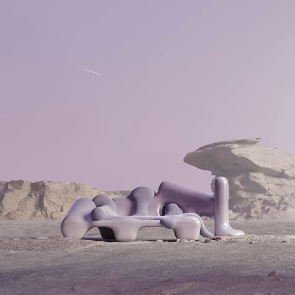 """Das fliederfarbene """"Deep Space"""" Sofa gibt es ebenfalls zu ersteigern."""