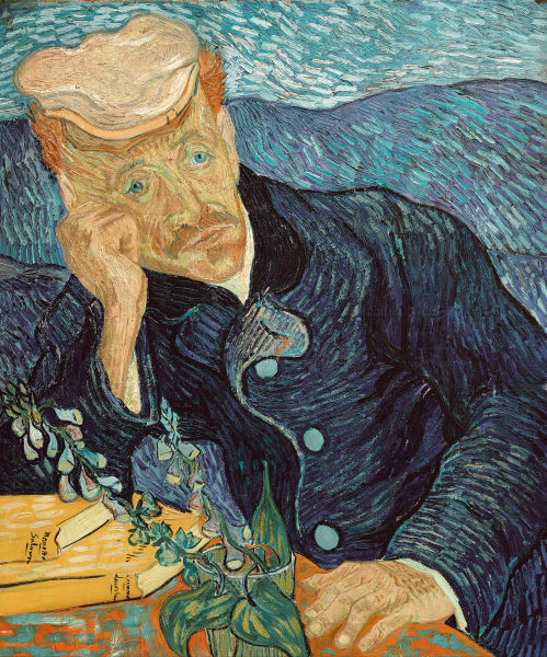 "Vincent van Gogh, ""Bildnis des Dr. Gachet"" (1890), Öl auf Leinwand, Privatsammlung."