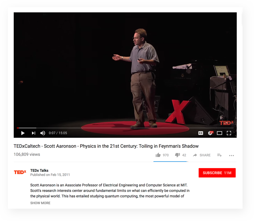 TEDxCaltech - Scott Aaronson - Physics in the 21st Century: Toiling in Feynman's Shadow
