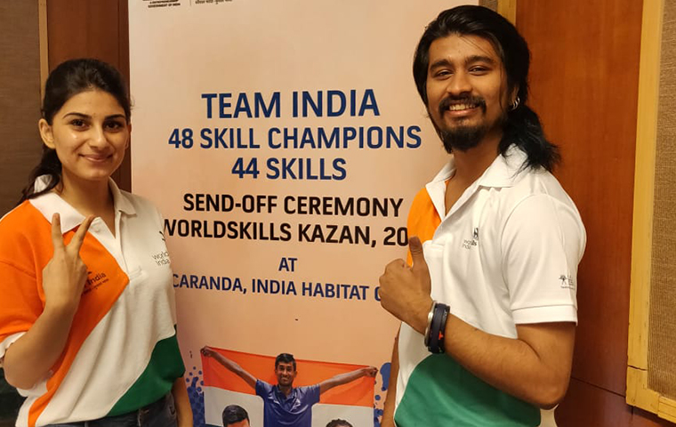 Mahima Gandhi and Utkarsh Kumar competed at WorldSkills competition
