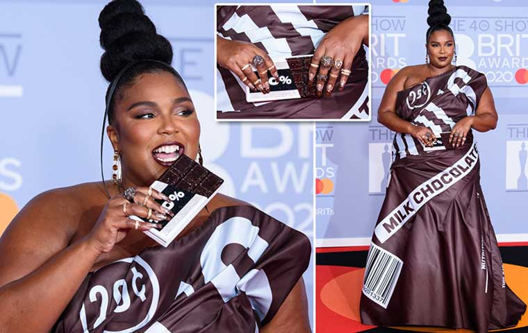 Lizzo flaunts her Chocolate Bar-Inspired Manicure