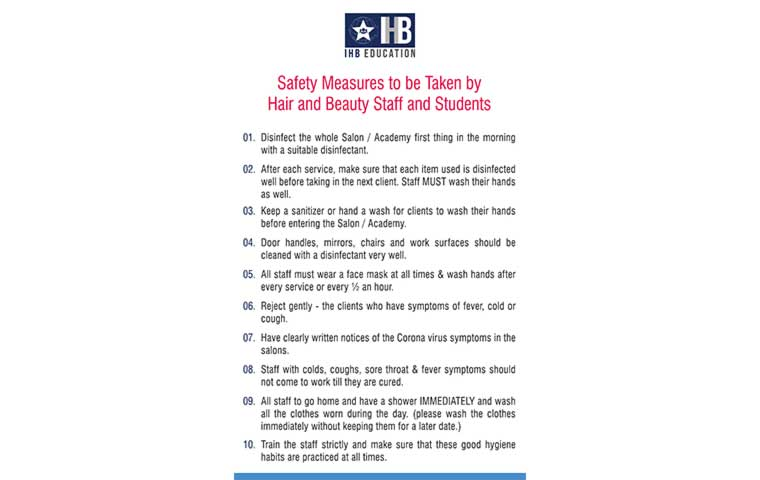 IHB Education lists safety measures for salons