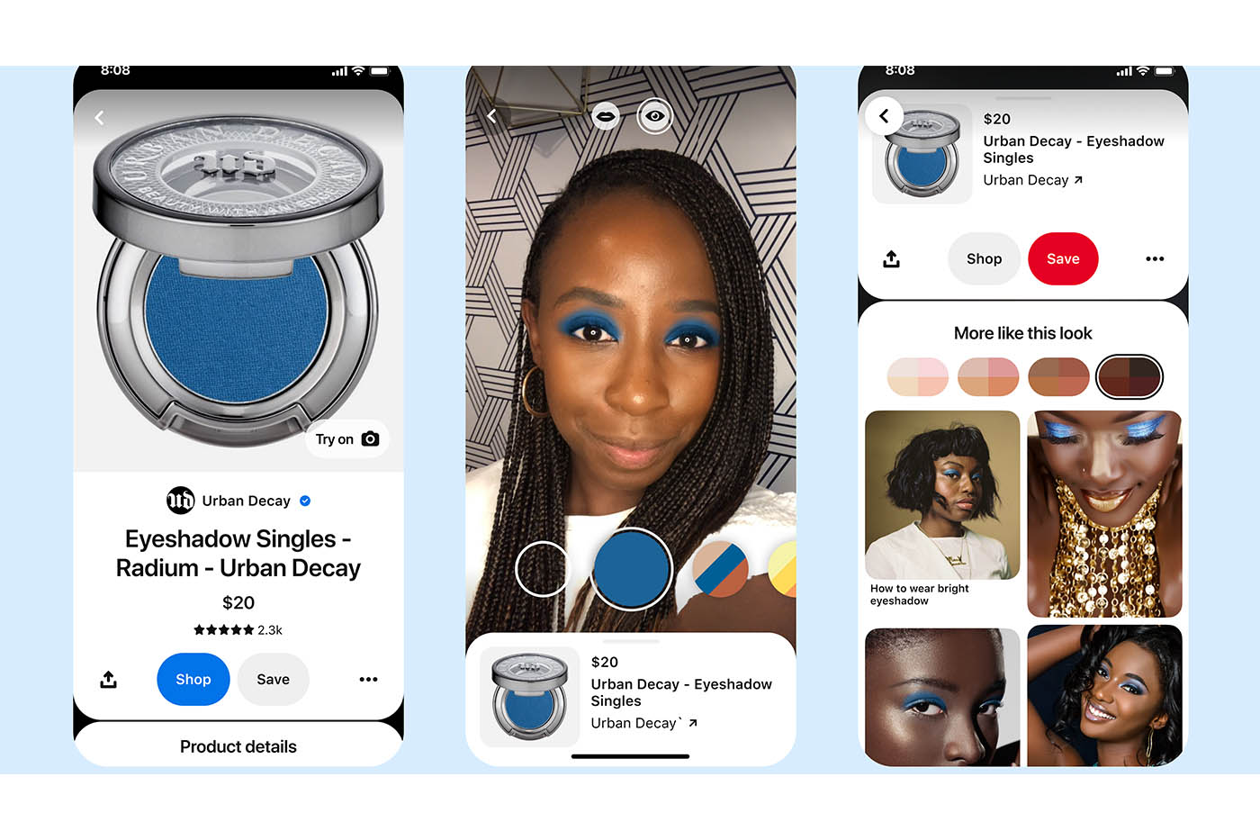 Pinterest offers virtual eyeshadow  try-on experience