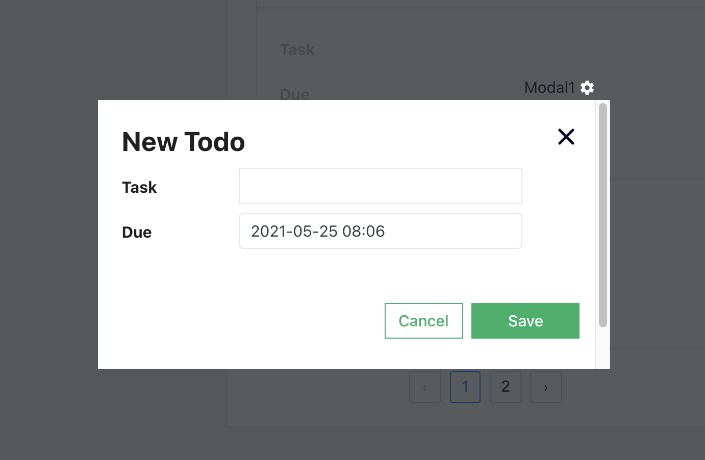 image show my form modal configuration