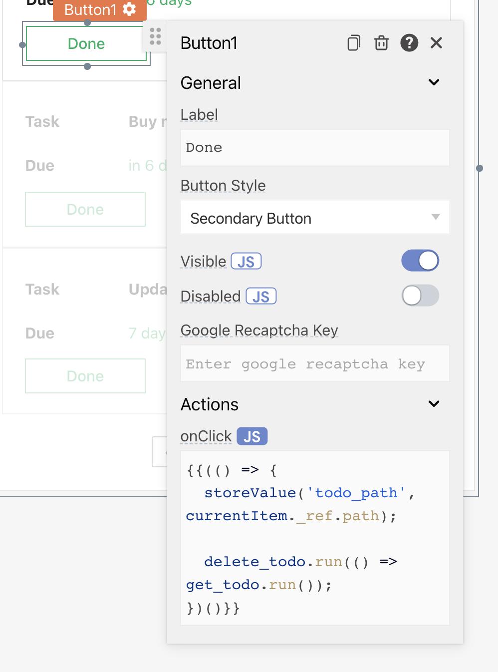 image showing delete todo button configuration