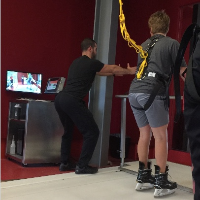 Hockey treadmill demo, dartfish video technology