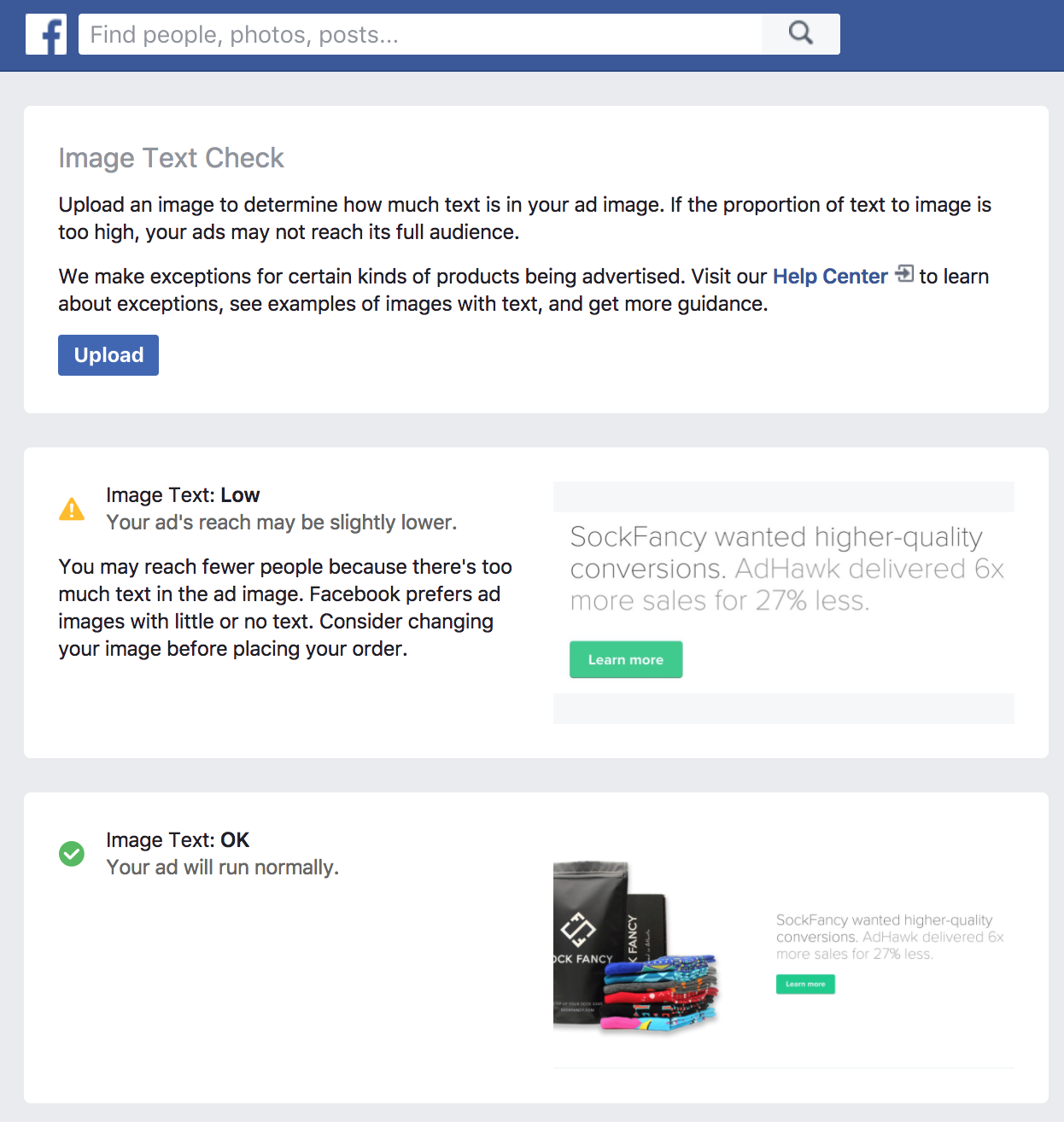 ảnh quảng cáo Facebook – text overlay test