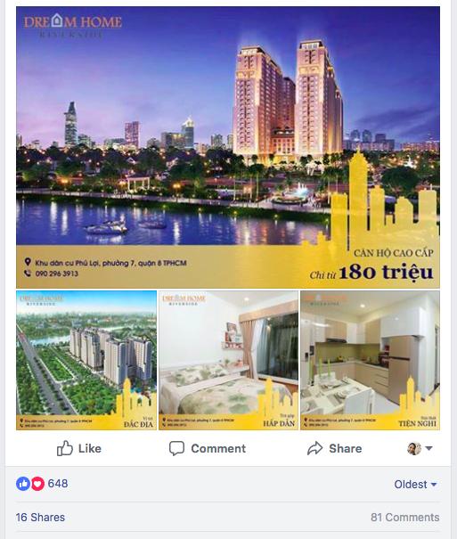hình chụp tương tác mẫu quảng cáo Facebook