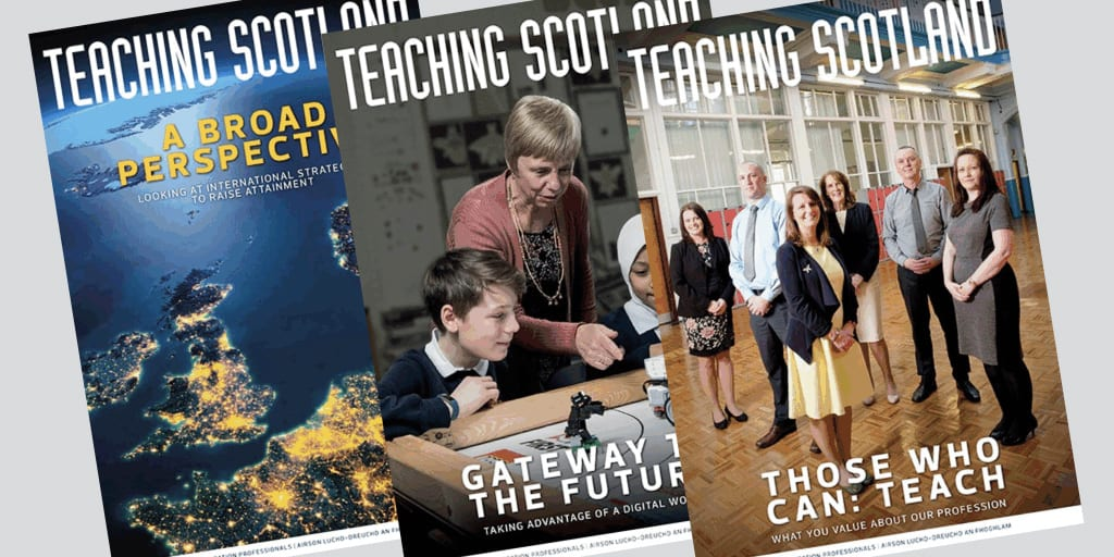 A display of recent Teaching Scotland magazine covers