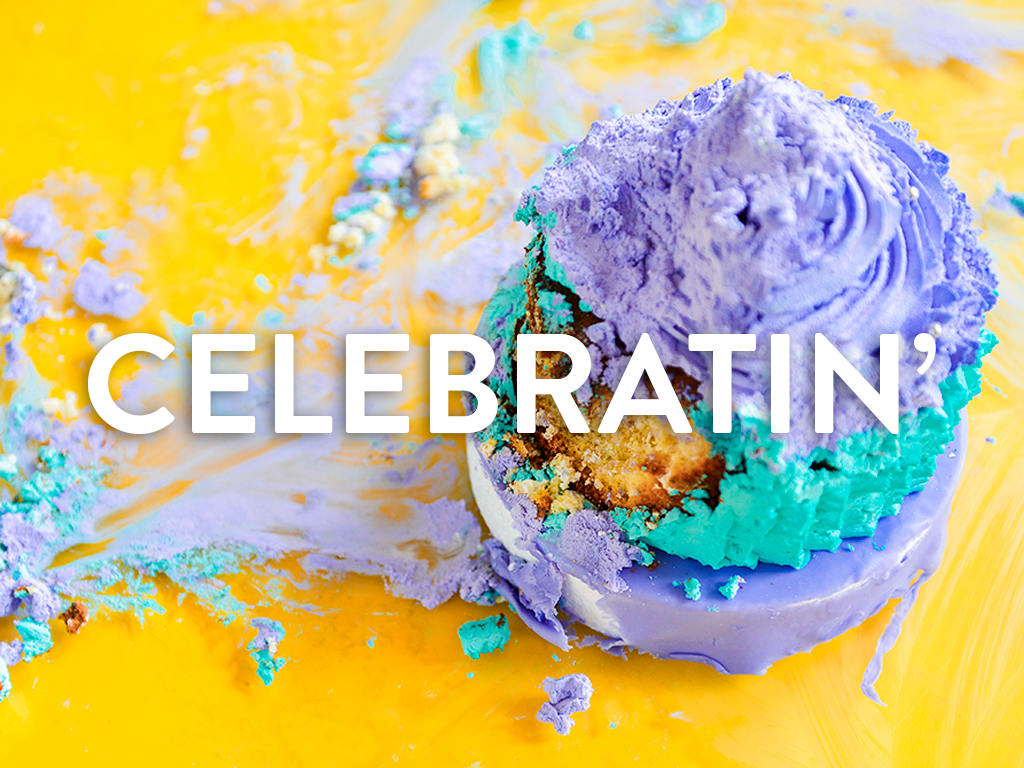 Image of Cupcake with the word Celebratin' overlayed