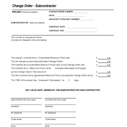 710 Change Order - Subcontractor Template Download for Construction