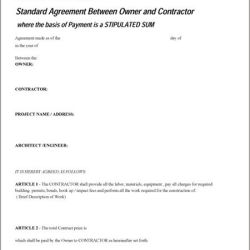Standard Agreement Between Owner and Contractor