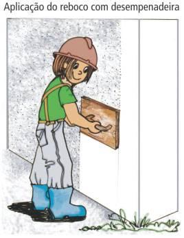 Aplicação de reboco com desempenadeira