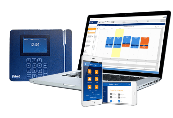 time and attendance solutions - showing a time clock and software displayed on mobile devices