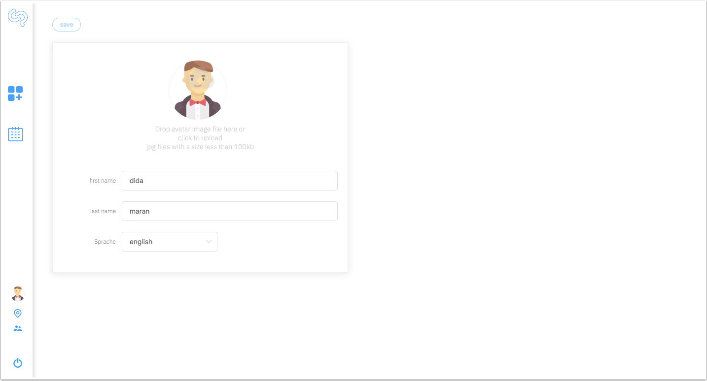 In the profile each user can upload an avatar picture and enter his first and last name.
