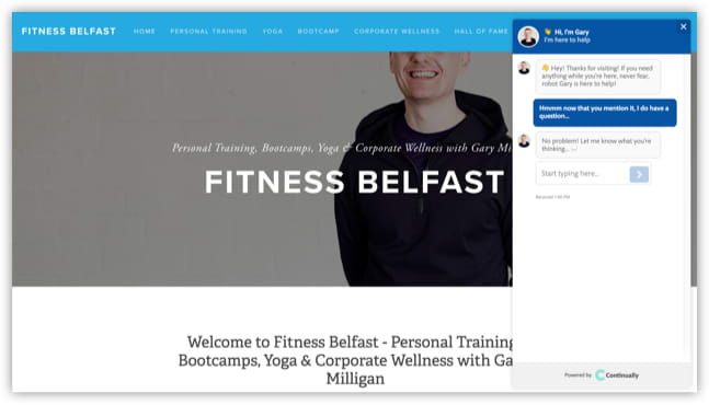 Fitness Belfast website and friendly bot