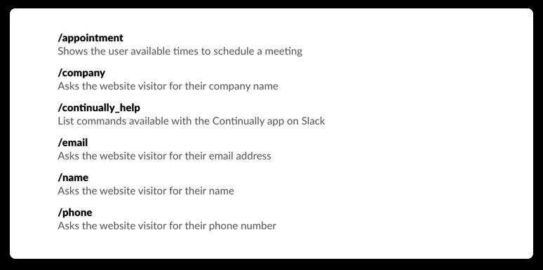 Our Slack commands