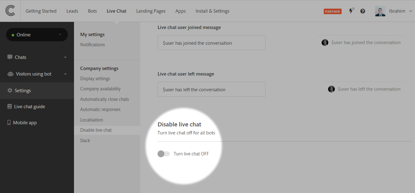 Turning Livechat Off