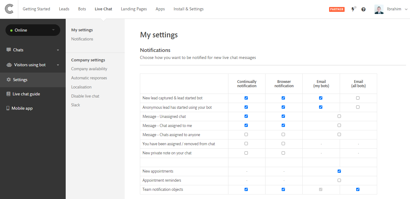 Where to find your live chat settings