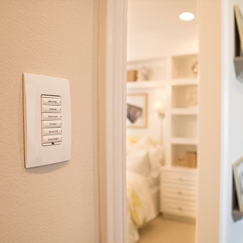 Customized lighting keypad displaying 6 keypad buttons with just a few of an unlimited amount of possibilities to configure your smart home just the way you want it.