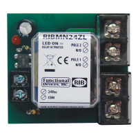 RIBMN24ZL - 2.75 Track Mount Relay 30 Amp DPST-N/O with 24 Vac/dc Coil