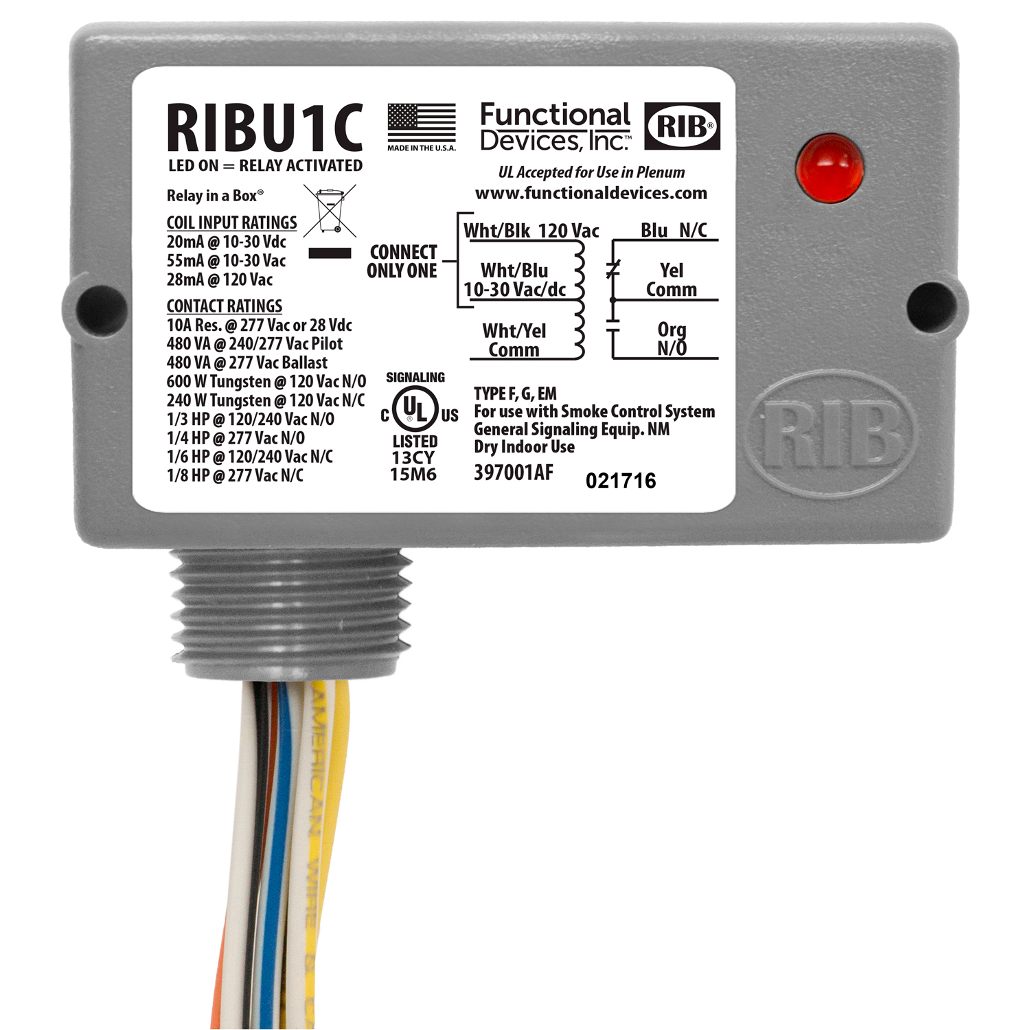 RIBU1C - Functional Devices Enclosed Relay 10 Amp SPDT with 10-30 Vac/dc/ 120 Vac Coil.