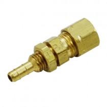 "B-138 - Schneider Electric Bulkhead Barb, Brass, 1/4"" Barb x 1/4"" Comp"