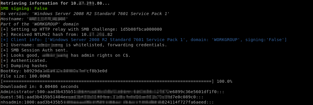 Dumping Hashes Screenshot
