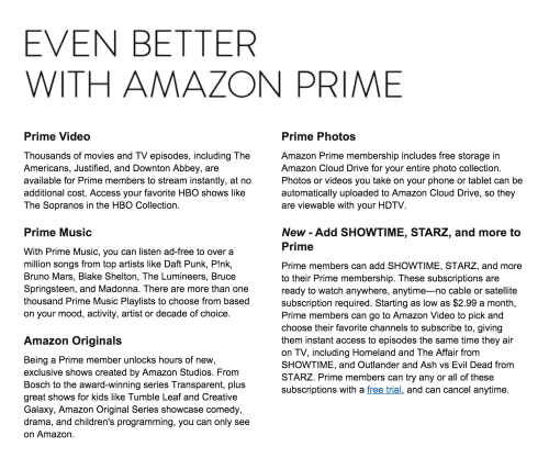 Amazon Prime's benefits