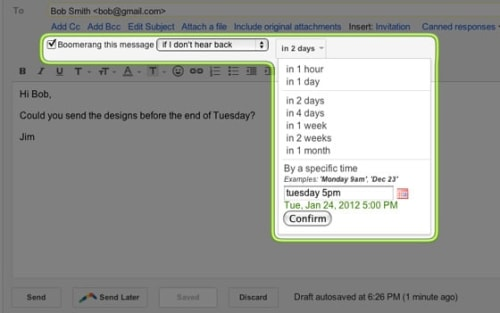 Boomerang interface for Gmail