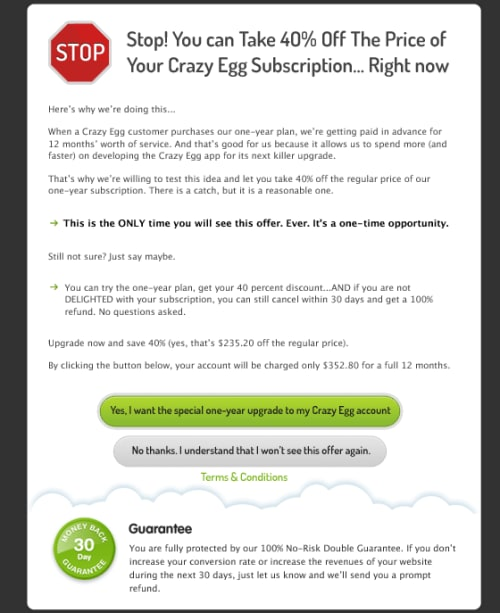 Crazy Egg's one-time offer.