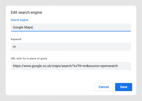 "A screenshot from the ""Edit Search Engines"" panel."