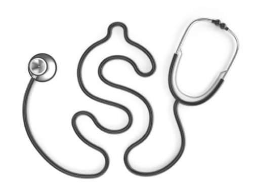 Picture of a stethoscope that's cleverly shaped like a dollar.