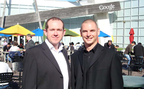 Our founders at Google's headquarters.