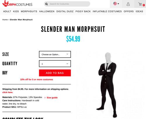 Morph Costumes Slender Man costume