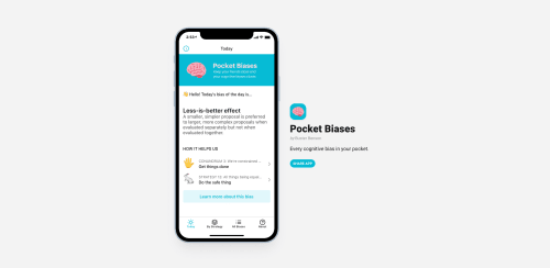 The homepage for the Pocket Biases app.