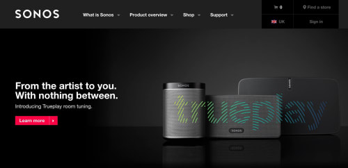 Sonos's homepage leading with a feature